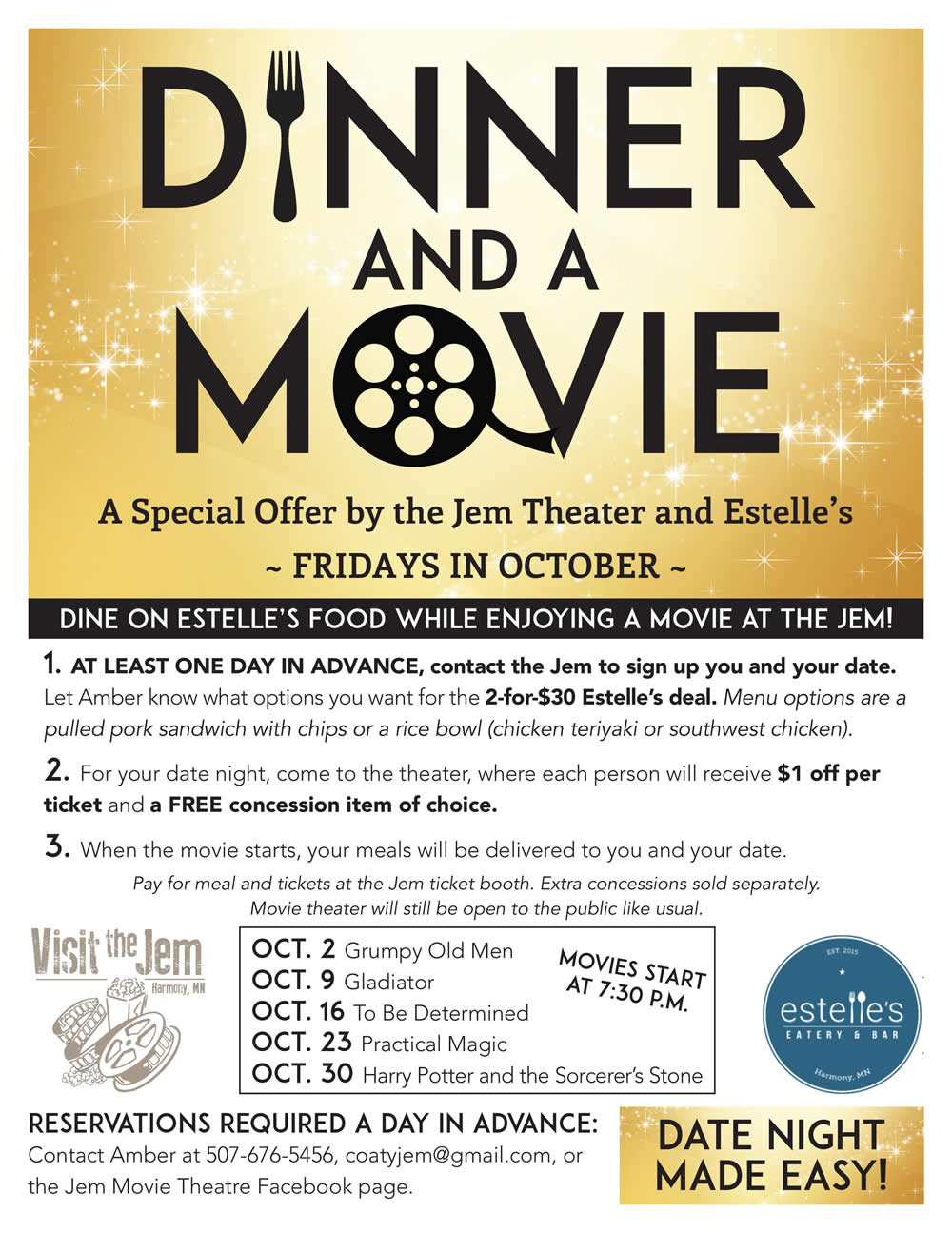 JEM Movie Theatre Harmony Minnesota - Dinner and A Movie - Estelles Eatery & Bar